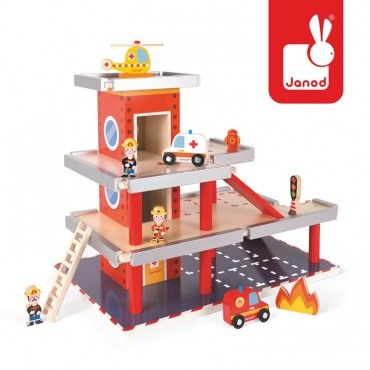 JANOD wooden fire station garage with 10 accessories