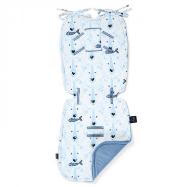 LA MILLOU THICK STROLLER PAD ARCTIC BEAR FAMILY DENIM VELVET COLLECTION