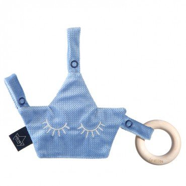 LA MILLOU VELVET COLLECTION ZAWIESZKA GRYZAK PACIFIER COMBO DOVE BLUE