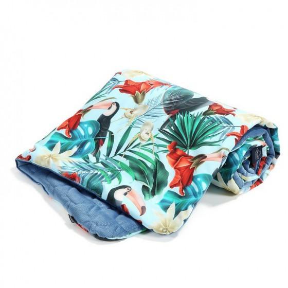 LA Millou VELVET COLLECTION Blanket Kilkenny HAWAIIAN BIRDS BLUE DENIM