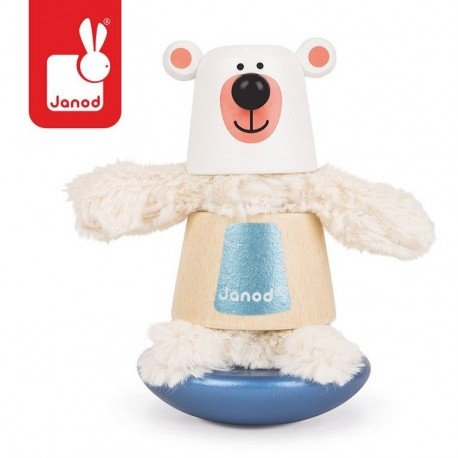 JANOD Polar Bear wooden pyramid with elements of fur