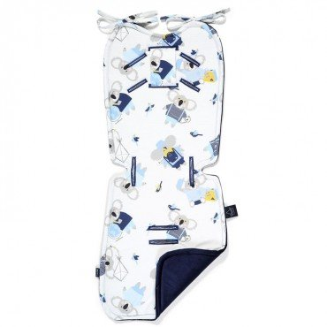 LA MILLOU THICK STROLLER PAD HELLO WORLD ROYAL NAVY VELVET COLLECTION