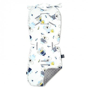 LA MILLOU THICK STROLLER PAD HELLO WORLD GREY