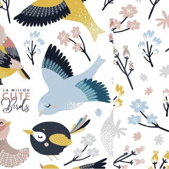 LA MILLOU KOMPLET POŚCIELI L CUTE BIRDS VIVID & CUTE FLOWERS