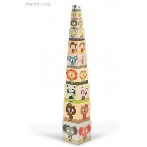 JANOD Piramida wieża 10 kostek Zwierzęta