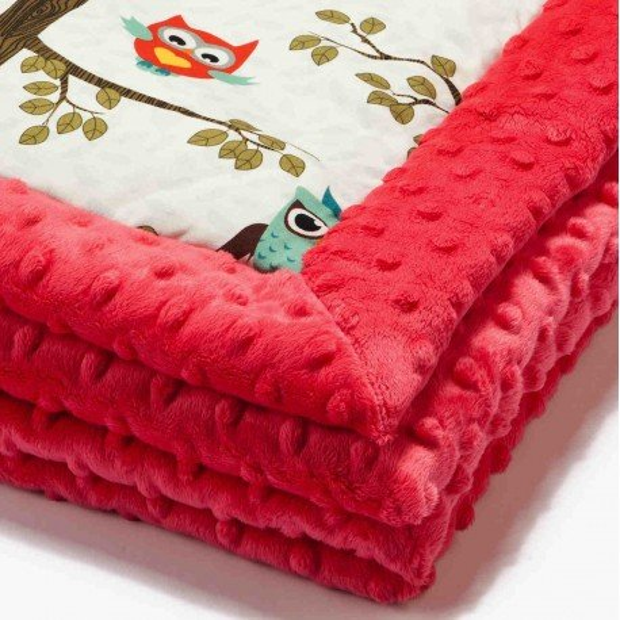 LA baby blanket Millou FLY BY ANNA - OWL RADIO - WATERMELON