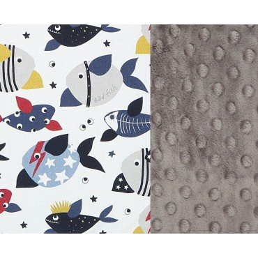 LA MILLOU THICK STROLLER PAD BAD FISH GREY