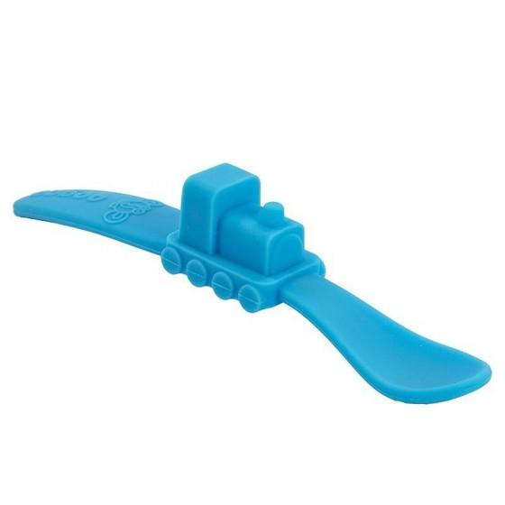 oogaa Blue Train silikonowa lyzeczka do karmienia