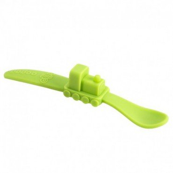oogaa Green Train silikonowa lyzeczka do karmienia