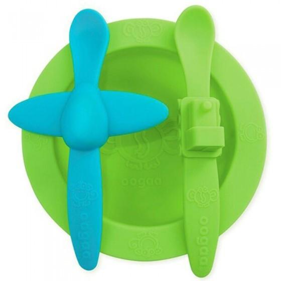 oogaa Green Meal Set silikonowy talerzyk i 2 lyzeczki
