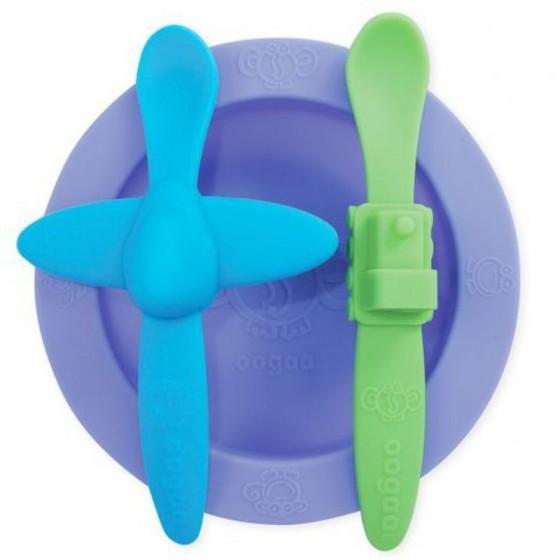 oogaa Purple 2 Meal Set silikonowy talerzyk i 2 lyzeczki
