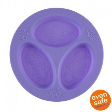 Ooga Purple Divided Plate silicone plate tripartite