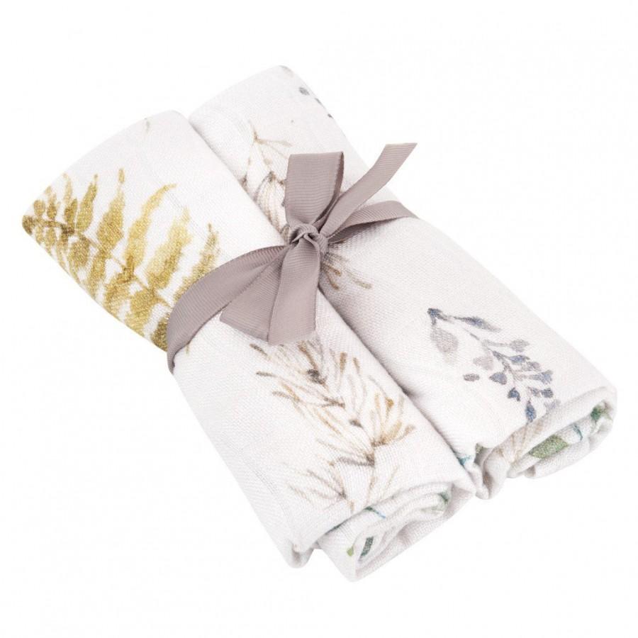 Samiboo - zestaw pieluszek premium z muślinu bambusowego z jonami srebra LEŚNY 50x50 cm 2 szt