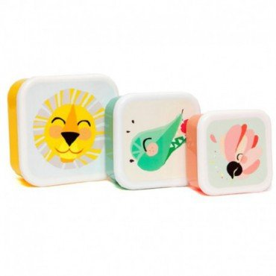 Petit Monkey - Zestaw 3 śniadaniówek lunchbox Lew, Papuga i Krokodyl