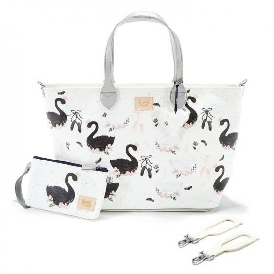 La Millou FEERIA PREMIUM ZIP - LARGE BAG WITH A CLUTCH - MOONLIGHT SWAN