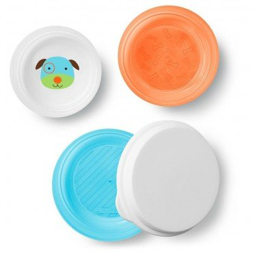 Skip Hop Bowl Set with Lid 3 pcs. Zoo Dog