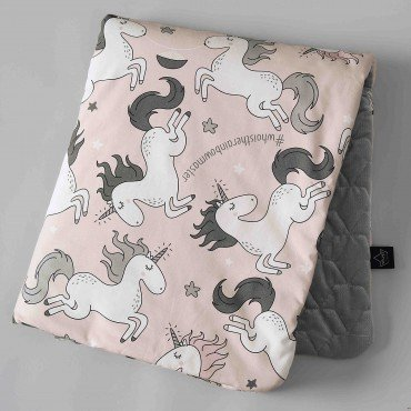 La Millou VELVET COLLECTION - BY MAJA BOHOSIEWICZ - MEDIUM BLANKET - UNICORN SUGAR BEBE - DARK GREY