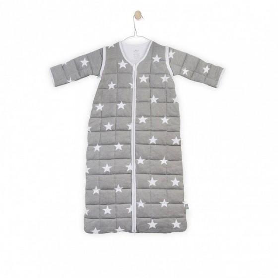 Jollein Śpiworek do spania z odpinanymi rękawami Szary Little star 0-6 miesięcy
