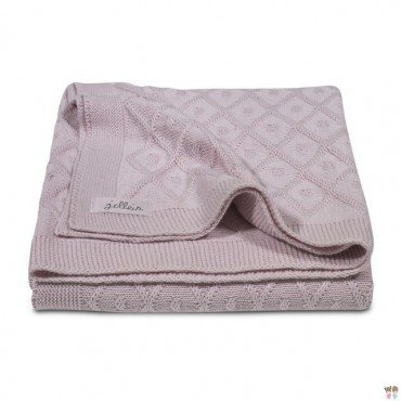 Jollein blanket woven check Vintage Pink Diamond - dirty pink