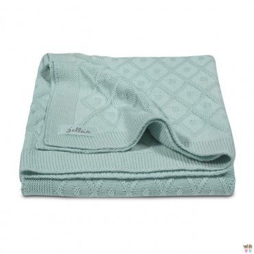 Jollein blanket woven check Diamond Vintage green - mint