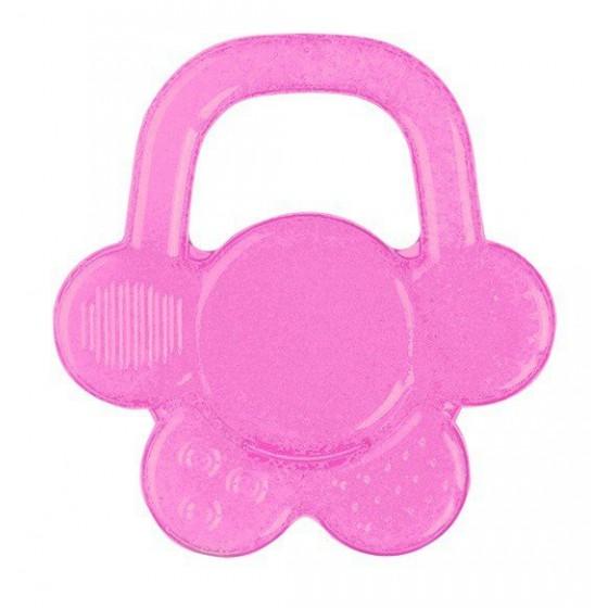 Babyono Żelowy gryzak dla niemowląt kwiatek - różowy