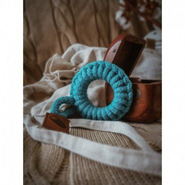Hi Little One - gryzak sznurkowy Ring Teether wood and cotton Dark Teal