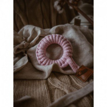 Hi Little One - gryzak sznurkowy Ring Teether wood and cotton Baby Pink