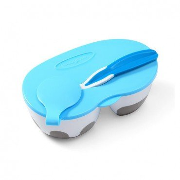 BabyOno Cup for children and infants two-compartment with spoon - blue