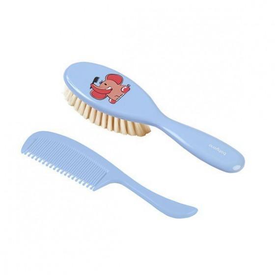 Babyono Szczotka i grzebień do włosów dla dzieci i niemowląt. Naturalne super miękkie włosie - niebieski