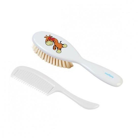 Babyono Szczotka i grzebień do włosów dla dzieci i niemowląt. Naturalne miękkie włosie - biały