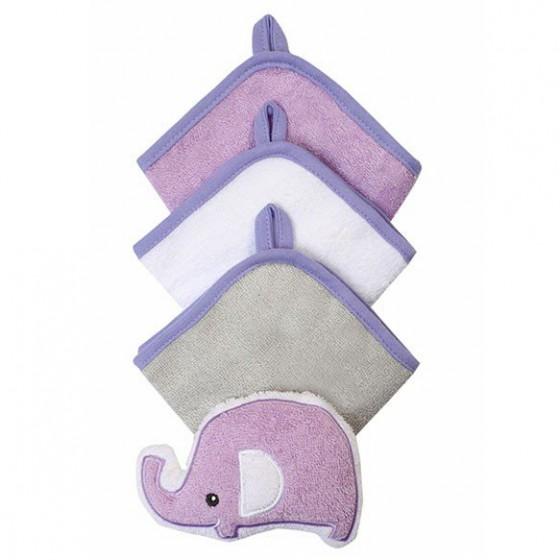 Babyono Zestaw myjek do kąpieli frotte z gąbką dla dzieci i niemowląt - filoletowy + biały + szary