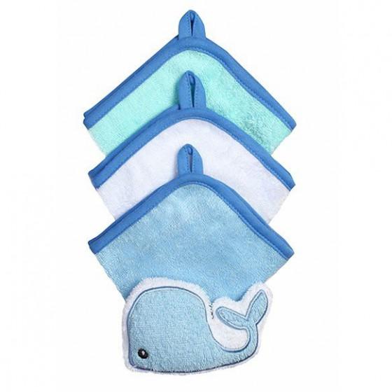 Babyono Zestaw myjek do kąpieli frotte z gąbką dla dzieci i niemowląt - niebieski + biały + miętowy