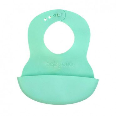 BabyOno Soft bib with pocket and adjustable clasp - mint