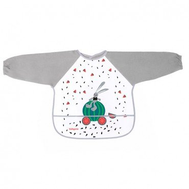 BabyOno Bib with long sleeves BABY ADVENTURER - gray