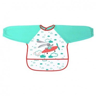 BabyOno Bib with long sleeves BABY ADVENTURER - green