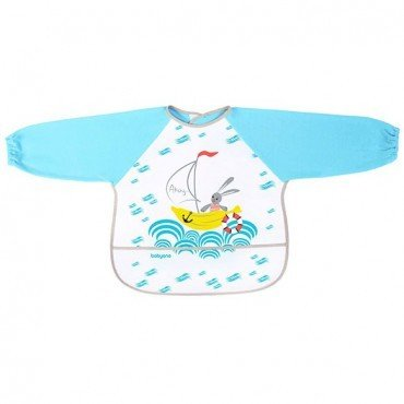 BabyOno Bib with long sleeves BABY ADVENTURER - blue