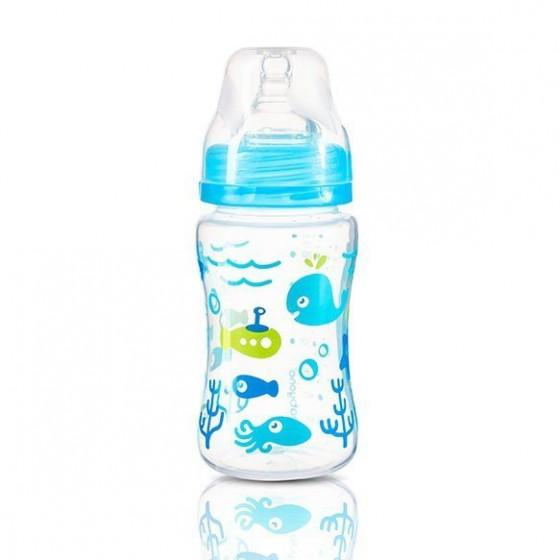 Babyono Butelka antykolkowa szerokootworowa 240ml - niebieska