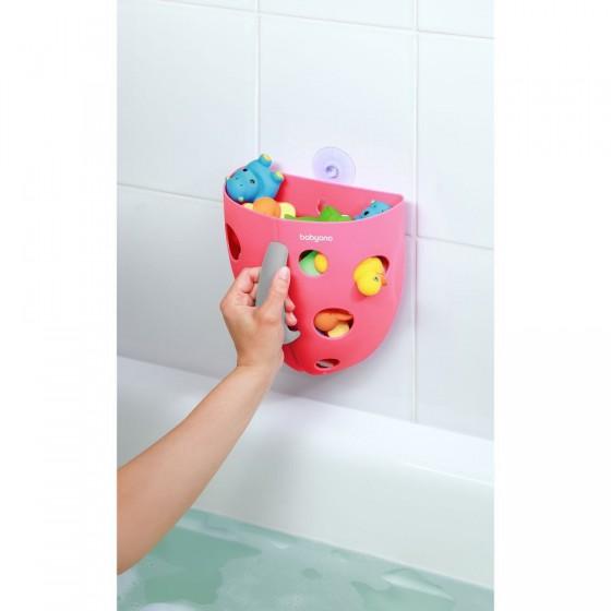 Babyono Pojemnik na zabawki kąpielowe - różowy