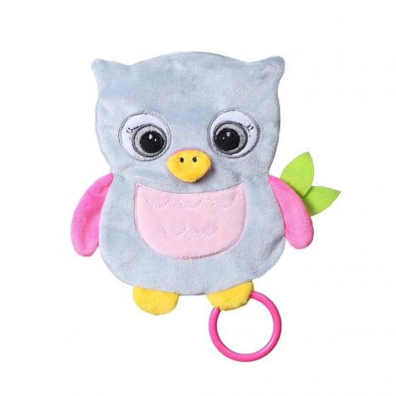 Babyono Przytulanka dla niemowląt FLAT OWL CELESTE