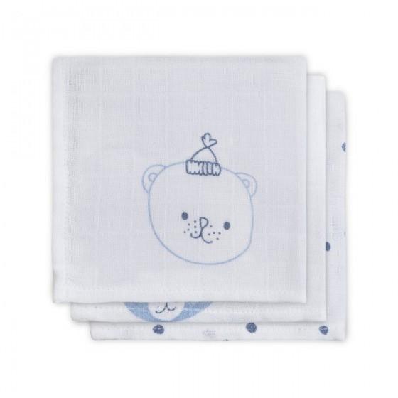 Jollein Bawełniana chusteczka 31x31cm Funny Bear Niebieski 3 sztuki
