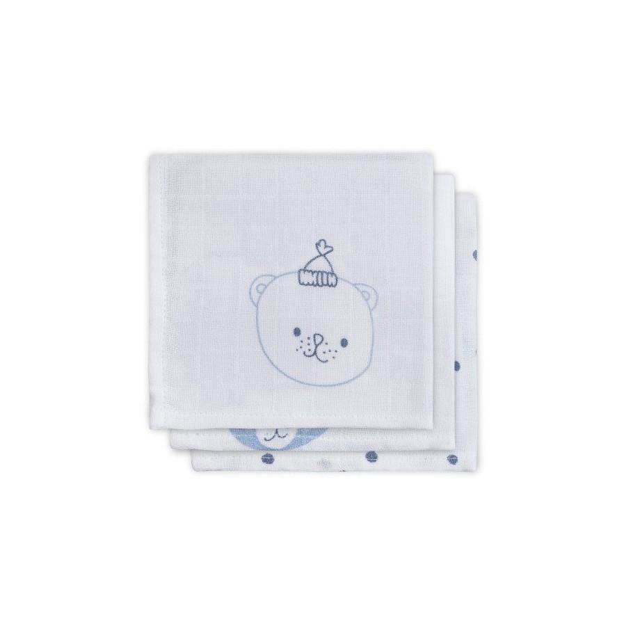 Jollein Cotton handkerchief 31x31cm Funny Bear Blue 3 pieces