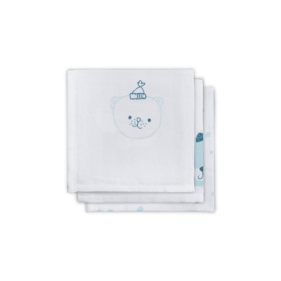 Jollein Cotton handkerchief 31x31cm Funny Bear Mint 3 pieces