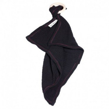Hi, Little One - cuddly dou dou teething muslin cozy with wood teether Black