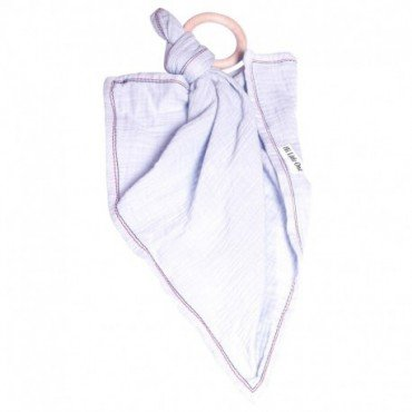 Hi, Little One - cuddly dou dou teething muslin cozy with wood teether White
