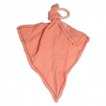 Hi, Little One - cuddly dou dou teething muslin cozy with wood teether Salmon