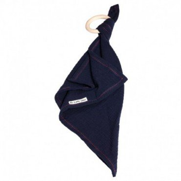 Hi, Little One - cuddly dou dou teething muslin cozy with wood teether Navy