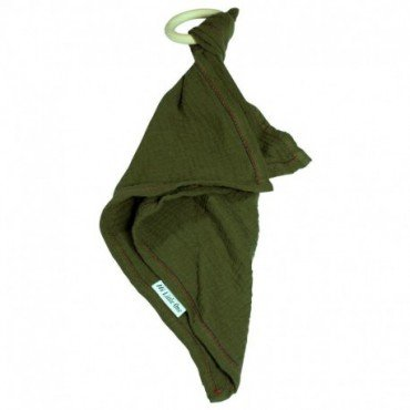 Hi, Little One - cuddly dou dou teething muslin cozy with wood teether Hunter Green