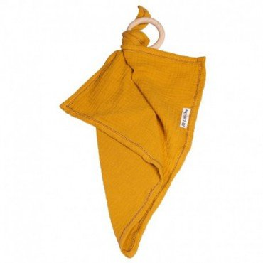 Hi, Little One - cuddly dou dou teething muslin cozy with wood teether Mustard