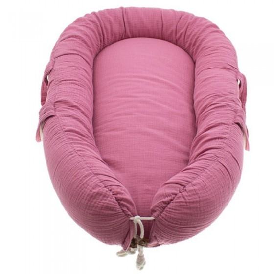 Hi Little One - Kokon gniazdko dla Noworodka z oddychającego muślinu NEWBORN NEST BABY PINK DARK