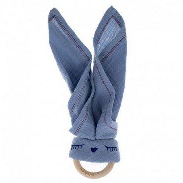 Hi, Little One - cuddly muslin teething Sleepy Bunny muslin cozy with wood teether, Sky Blue